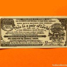 Etiquetas antiguas: LEVIS STRAUSS KLEOS, ETIQUETA ORIGINAL 1966, BLUE JEANS FOR OVER 135 YEARS, J - 503 REV. 3 G. Lote 161021410