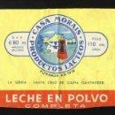 Etiquetas antiguas: ETIQUETA DE LECHE EN POLVO DE LA CASA MORAIS (SANTA CRUZ DE IGUÑA, SANTANDER). 18 X 7,5 CMS. Lote 161078642