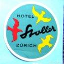 Etiquetas antiguas: ETIQUETA HOTEL STOLLER, ZÜRICH, SUIZA. Lote 161336582