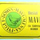 Etiquetas antiguas: ETIQUETA HOSTAL MAVI. LA CABRERA, MADRID.. Lote 161346318