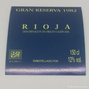 Gran reserva 1982 Rioja. Bodegas Palacios. La Guardia. Alava. Etiqueta de muestra nunca usada