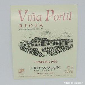 Viña Portil. Rioja cosecha 1996 Bodegas Palacios. La Guardia. Alava. Etiqueta de muestra nunca usada