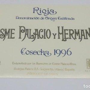 Cosme Palacio y Hermanos. Cosecha 1996 Bodegas Palacios. La Guardia. Alava. Etiqueta impecable
