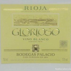 Glorioso. Vino blanco. Bodegas Palacios. La Guardia. Alava. Etiqueta impecable