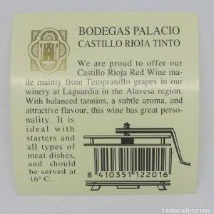 Castillo rioja tinto. Bodegas Palacios. La Guardia. Alava. Etiqueta impecable
