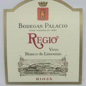 Regio. Vino blanco de Limousin. Rioja. Bodegas Palacios. La Guardia. Alava. Etiqueta impecable