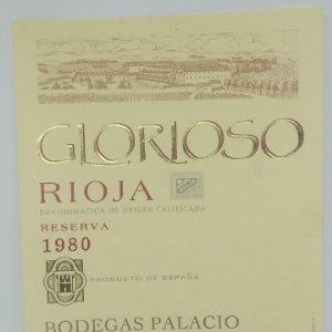 Glorioso. Rioja. Reserva 1980 Bodegas Palacios. La Guardia. Alava. Etiqueta impecable