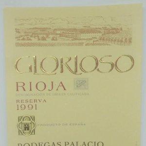 Glorioso. Rioja. Reserva 1991 Bodegas Palacios. La Guardia. Alava. Etiqueta impecable