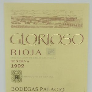Glorioso. Rioja. Reserva 1992 Bodegas Palacios. La Guardia. Alava. Etiqueta impecable
