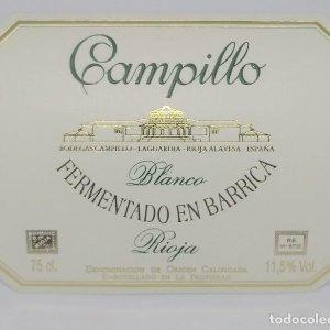 Campillo blanco. Fermentado en Barrica Bodegas Campillo La Guardia. Rioja alavesa Etiqueta impecable