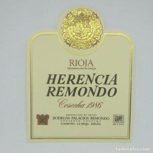 Herencia Remondo. Cosecha 1986 Bodegas Palacios Remondo. Logroño. La rioja. Etiqueta impecable