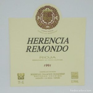 Herencia Remondo. 1991 Finca la Montesa Bodegas Palacios Remondo Logroño La rioja Etiqueta impecable
