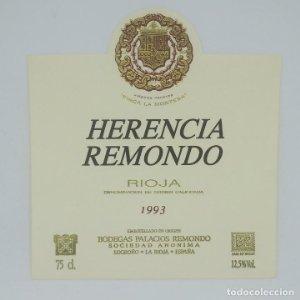 Herencia Remondo. 1993 Finca la Montesa Bodegas Palacios Remondo Logroño La rioja Etiqueta impecable