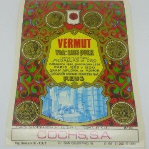 Vermut Viuda de Luis Quer. Reus. Cochs, S.A. Etiqueta original 16,2x11,8cm
