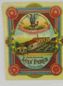 Luis Perich. Gerona. El menuro. Fábrica de anisados. Etiqueta original
