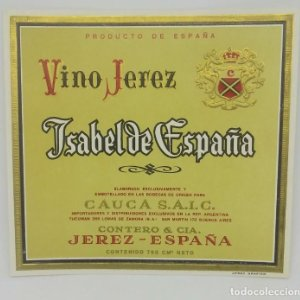 Isaberl de España. Vino de Jerez. Cauca. Etiqueta original 11,8x11cm