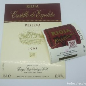Castillo de Ezpeleta. Rioja. Reserva 1993. Etiquetas impecables