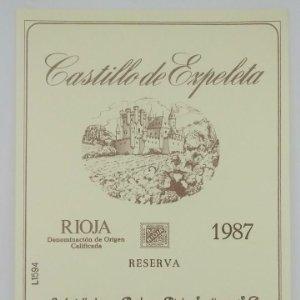 Castillo de Ezpeleta. Rioja 1987 Etiqueta impecable