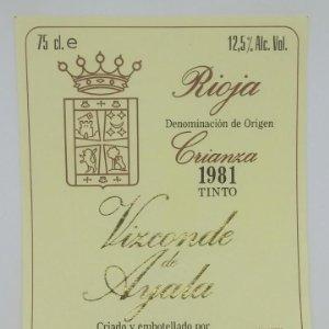 Vizconde de Ayala. Crianza 1981 tinto. Rioja. Haro. Rioja alta. Etiquetas impecables