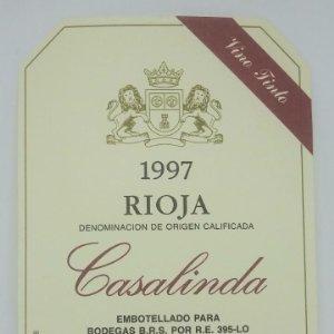Casalinda. Rioja. Vino tinto. Bodegas B.R.S.. Haro. Rioja alta. Etiquetas impecables