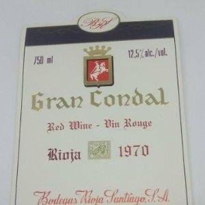 Gran Condal. Red Wine. Vin Rouge. Rioja 1970. Bodegas Rioja Santiago. Haro. Rioja alta. impecable