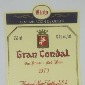 Gran Condal. 1973 Bodegas Rioja Santiago. Haro. Rioja alta. Etiqueta impecable