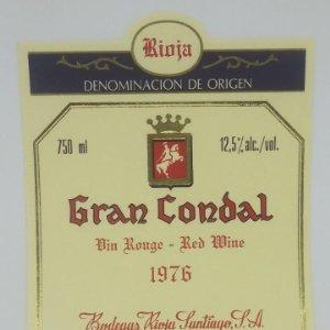 Gran Condal. 1976 Bodegas Rioja Santiago. Haro. Rioja alta. Etiqueta impecable