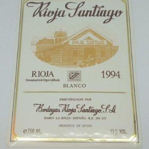 Rioja Santiago. 1994 Blanco. Bodegas Rioja Santiago. Haro. Rioja alta. Etiqueta original