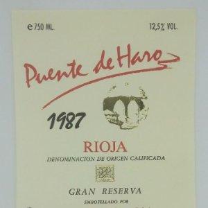Puente de Haro 1987 Gran reserva. Bodegas Rioja Santiago. Haro. Rioja alta. Etiqueta original