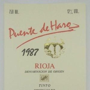 Puente de Haro 1987 Tinto. Bodegas Rioja Santiago. Haro. Rioja alta. Etiqueta original
