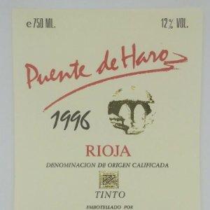 Puente de Haro 1996 Tinto. Bodegas Rioja Santiago. Haro. Rioja alta. Etiqueta original