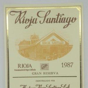 Rioja Santiago. Gran reserva 1987 Bodegas Rioja Santiago. Haro. Rioja alta. Etiqueta original
