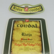 Etiquetas antiguas: RIOJA CONDAL. BLANCO SECO. BODEGAS RIOJA SANTIAGO. HARO. RIOJA ALTA. 2 ETIQUETAS. Lote 162066198