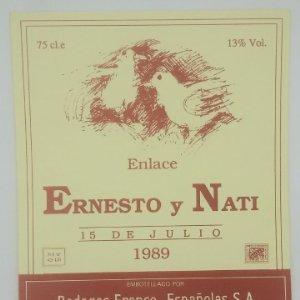 Bodegas Franco Españolas, Logroño. La Rioja. Etiqueta para boda 1989