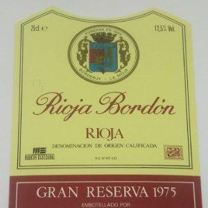 Rioja Bordón. Gran reserva 1975. Bodegas Franco Españolas. Logroño. La Rioja