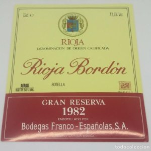 Rioja Bordón. Gran reserva 1982. Bodegas Franco Españolas. Logroño. La Rioja