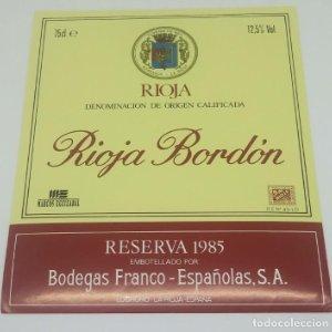Rioja Bordón. Reserva 1985. Bodegas Franco Españolas. Logroño. La Rioja