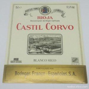 Castil Corvo. Blanco seco. Bodegas Franco Españolas. Marcos Eguizabal. Logroño. La Rioja 13,3x11,4cm