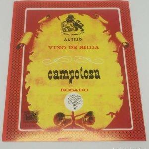 Campolosa. Bodega coopertaiva Ausejo. Vino de Rioja rosado. Etiqueta impecable 12x10cm