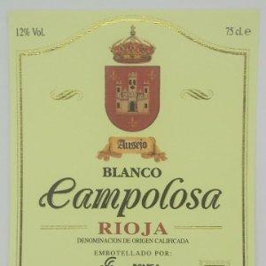 Campolosa. Ausejo. Blanco. Rioja. Bodega San Miguel. Ausejo. La Rioja. Etiqueta impecable 12x10cm