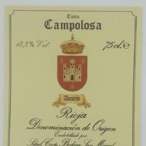 Campolosa tinto. Ausejo. Rioja. Bodega San Miguel. Ausejo. La Rioja. Etiqueta impecable 12x10cm