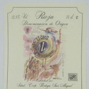 Lions International. Rioja. Bodega San Miguel. Ausejo. La Rioja. Etiqueta impecable 12x10cm