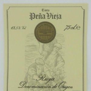Peña Vieja. Tinto. Rioja. Bodega San Miguel. Ausejo. La Rioja. Etiqueta impecable 12x10cm