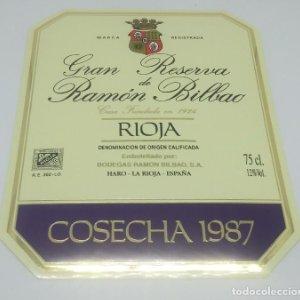 Gran reserva de Ramón Bilbao. Cosecha 1987. Haro. La Rioja. Etiqueta impecable 13,5x11cm