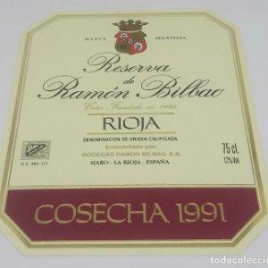 Gran reserva de Ramón Bilbao. Cosecha 1991. Haro. La Rioja. Etiqueta impecable 13,5x11cm