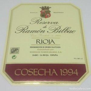 Gran reserva de Ramón Bilbao. Cosecha 1994. Haro. La Rioja. Etiqueta impecable 13,5x11cm