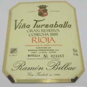 Viña Turzaballa Gran cosecha 1985 Bodegas Ramón Bilbao. Haro. La Rioja. Etiqueta impecable 13,5x11cm
