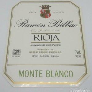 Ramón Bilbao. Monte blanco. Bodegas Ramón Bilbao. Haro. La Rioja. Etiqueta impecable 13,5x11cm
