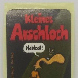 Kleines Arschloch. Blackberry mit wodka. Eichborn verlag. Etiqueta / pegatina impecable 5x2,8cm