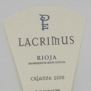 Lacrimus. Rioja. Crianza 2000. Etiqueta / pegatina impecable 9,2x7,5cm